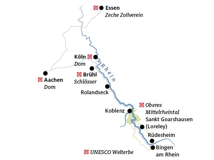 Mittelrheintal Karte.Autotour Romantischer Rhein Von Der Loreley Bis Essen